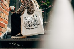 coffee for the people tote - white (stairs)